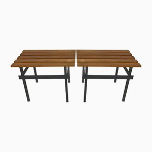 Vintage Teak & Enamelled Metal Benches, 1960s, Set of 2