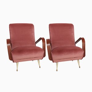 Velvet, Brass, & Mahogany Armchairs, 1950s, Set of 2