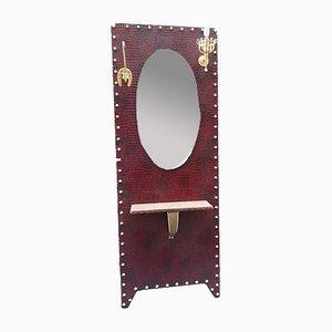 Mueble de recibidor vintage iluminado con espejo, años 70