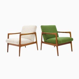 Vintage Sessel mit Gestell aus Teak, 1960er, 2er Set