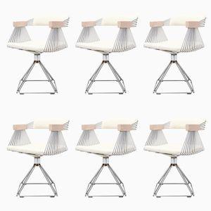 Postmoderne drehbare Stühle aus verchromtem Stahldraht von Rudi Verelst, 1970er, 6er Set