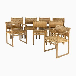 Rattan Dining Chairs by Børge Mogensen for Fredericia, 1960s, Set of 8