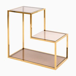 Brass & Smoked Glass Etagere by Romeo Rega, 1960s