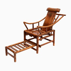 Antique Chinese Handcrafted Yoke Back Wooden Reclining Chair
