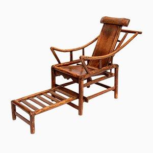 Silla reclinable china antigua con respaldo en forma de yugo hecha a mano