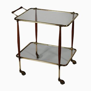 Italian Brass, Wood, & Glass Service Cart, 1950s