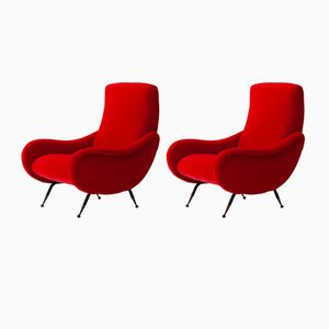 Italian Red Velvet Armchairs, 1950s, Set of 2
