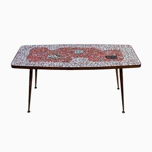 Tavolino da caffè mosaicato in ottone di Berthold Muller Oerlinghausen, anni '50