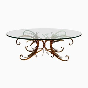 Hollywood Regency French Oval Glass & Brass Coffee Table, 1950s