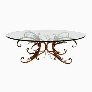 Table Basse Ovale Hollywood Regency en Verre et Laiton, France, 1950s