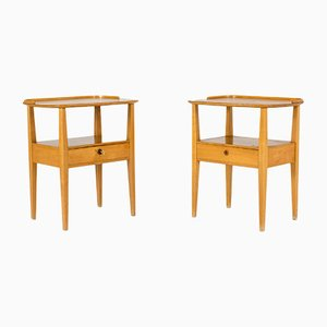 Birch Bedside Tables from Nordiska Kompaniet, 1950s, Set of 2
