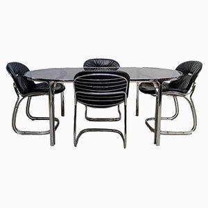 Juego de mesa y cuatro sillas Sabrina italianas de Gastone Rinaldi para Rima, años 70