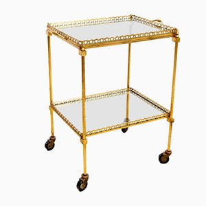 French Brass & Mirrored Glass Serving Bar Cart, 1960s