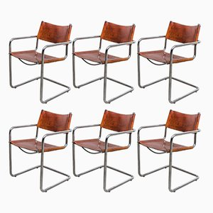 MG5 Cognac Leather Chairs by Marcel Breuer for Gavina, 1920s, Set of 6