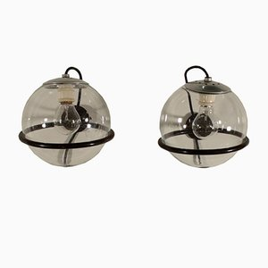 Applique in metallo e vetro di Gino Sarfatti, anni '60, set di 2