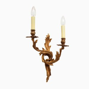 French Rococo Style Cast Brass Wall Sconce, 1970s