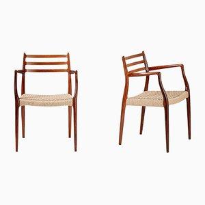 Modell 62 Sessel mit Gestell aus Palisander von N. O. Møller für J.L. Møllers, 1962, 2er Set