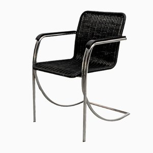 Sessel mit verchromtem Gestell & Sitz aus schwarz gefärbtem Korbgeflecht, 1970er