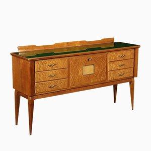 Aparador italiano de cerezo y madera nudosa con mueble bar, años 50