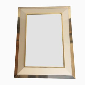 Ivory Lacquered & Brass Mirror by Jean Claude Mahey, 1970s