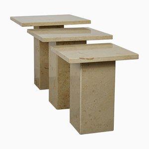 Tavolini in pietra bordeaux, anni '70, set di 3