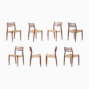 Modell 78 Stühle mit Gestell aus Palisander von Niels Otto Moller für J.L. Møllers, 1962, 8er Set