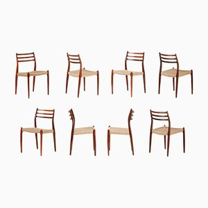 Rosewood Model 78 Chairs by Niels Otto Moller for J.L. Møllers, 1962, Set of 8