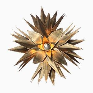 Aplique en forma de estrella de palmera de latón de Maison Jansen, años 70