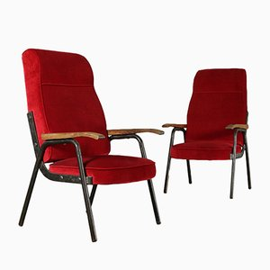 Vintage Metal & Velvet Armchairs, Set of 2