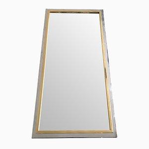 Espejo cromado con marco de latón y metal cromado de Belgo, años 70