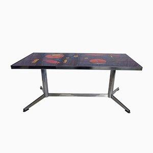Tavolino da caffè Vallauris con piastrelle artistiche di La Grange, anni '60
