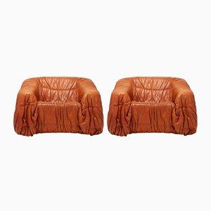 Chaise longue postmoderne in pelle color cognac di De Pas, D'urbino & Lomazzi, anni '70, set di 2