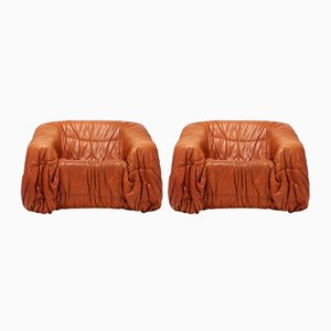 Cognac Leather Postmodern Lounge Chairs by De Pas, D'urbino & Lomazzi, 1970s, Set of 2