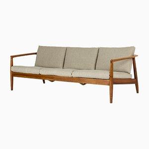 Sofa mit Gestell aus Nussholz von Folke Ohlsson für Dux, 1960er