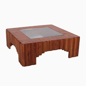 Italian Pine & Glass Coffee Table, 1970s