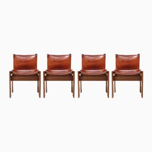 Cognac Leather Monk Chairs by Tobia & Afra Scarpa for Molteni, 1970s, Set of 4
