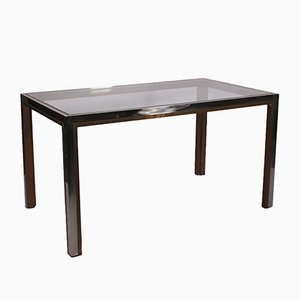 Vintage Italian Glass and Chromed Brass Table