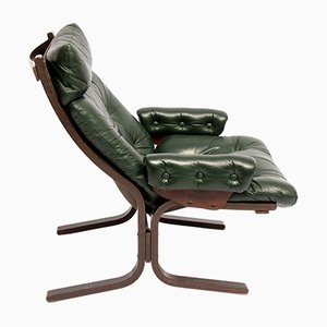 Green Leather Lounge Chair, 1970s