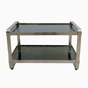 Vintage Smoked Glass & Anodised Aluminium Side Table