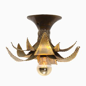 Regency Style Brass Palm Ceiling Lamp from Maison Jansen, 1970s