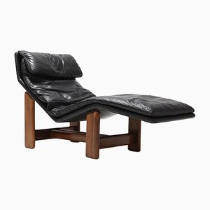 Black Leather and Walnut Lounge Chair by Afra & Tobia Scarpa, 1980s