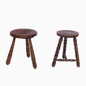 Round Stools with Hand-Turned Legs, 1950s, Set of 2