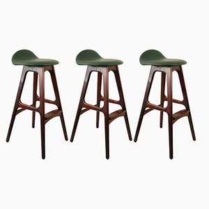 Rosewood OD 61 Bar Stools by Erik Buch for Oddense Maskinsnedkeri, 1960s, Set of 3