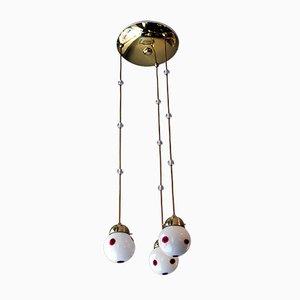 Plafonnier 3 Lampes Art Nouveau en Verre par Kolo Moser pour Bakalowits & Söhne, Autriche, 1900s