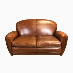 Club sofa vintage in pelle, anni '70