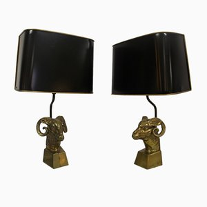 Vintage Bronze Ram Lamps, Set of 2