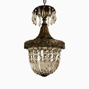 Lampe à Suspension Vintage en Cristal, Italie, 1950s
