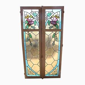 Antike Fenster mit gefärbtem Glas im Jugendstil, 2er Set