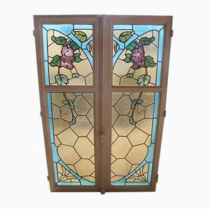 Antique Art Nouveau Stained Glass Windows, Set of 2