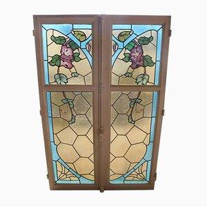 Fenêtres Antiques Art Nouveau en Verre Teinté, Set de 2